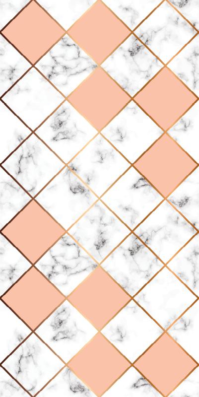 TenStickers. papel parede pedra Telha cerâmica mármore rosa. Papel de parede com efeito de pedra com um padrão impressionante de ladrilhos de cerâmica de mármore nas cores rosa, branco e cinza.