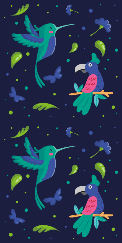 TenStickers. Parrots and woodpeckers Cool animal wallpaper. nature theme wallpaper featuring design of various parrot birds perched on branches. It has a lovely dark blue background with dots and butterflies.