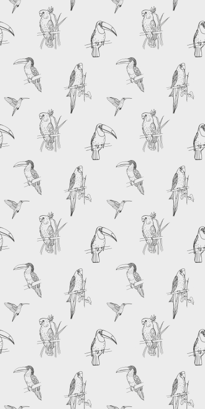 TenStickers. Drawn Bird Pattern Cool animal wallpaper. Parrot wallpaper which  features a lovely pattern of hand drawn birds including parrots, hummingbirds and Toucans. Anti-bubble.