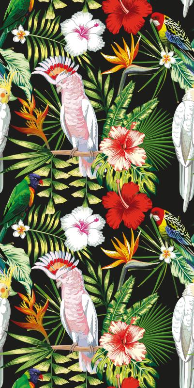 TenStickers. Lyse farver papegøjer cool dyr tapet. Papegøje tapet, der har et fantastisk mønster af papegøjer omgivet af tropiske planter og blomster. Tilmeld dig 10% rabat.