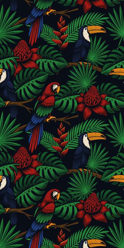 TenStickers. Tapeta ze zwierzętami Ciemna dżungla z ptakami. Tapeta przedstawiająca ptaki i rośliny z dżungli, w ciemnym, kojącym kolorze. Idealna do sypialni lub pracowni, wprowaca spokój. Zamów już dziś!