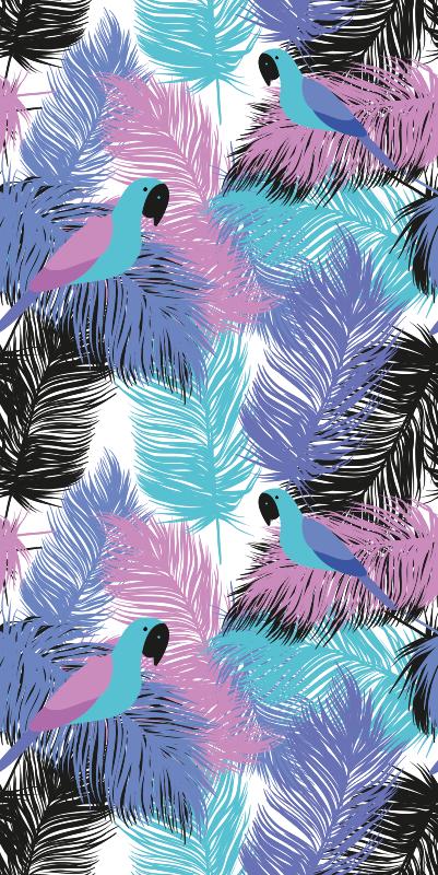 TenStickers. 热带鹦鹉酷壁纸. 鹦鹉壁纸,上面有只鹦鹉的紫色和蓝色羽毛图案。极其持久的材料。