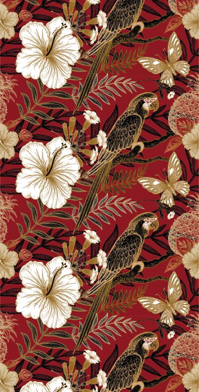 TenStickers. 优雅的红色花卉壁纸. 红色动物壁纸,具有美丽的丛林花卉图案和白色和金色的鹦鹉图案。 +10,000名满意的客户。
