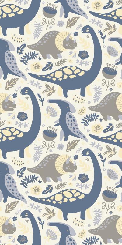 TenStickers. 蓝色恐龙北欧风格孩子壁纸. 蓝色恐龙北欧风格儿童壁纸。这款壁纸在您的孩子的房间中营造出舒缓而友好的氛围。
