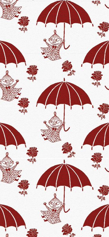 Tenstickers. Punaiset sateenvarjo-muumit Tapetti lastenhuoneeseen. Koristeellinen lasten makuuhuone tapetti, jossa kuvitetaan muumeja sateenvarjojen alla kukilla. Tuote on alkuperäinen ja ryppyinen.