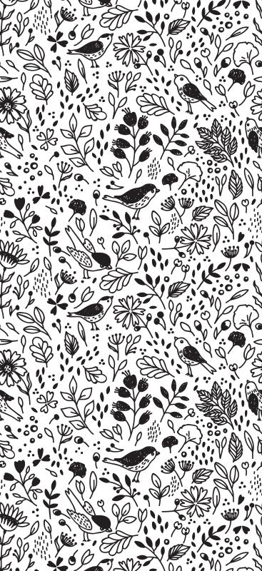 TenStickers. Carta da parati con animali Uccelli su legno bianco e nero. Stai cercando quella carta da parati ispirata alla natura rilassante per il tuo spazio?. Questa carta da parati con uccelli su alberi farebbe magia.