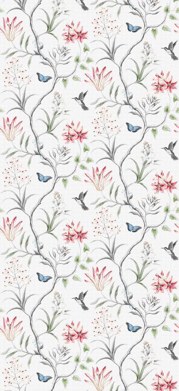TenStickers. Carta da parati con animali Ramo di fiori di uccelli e farfalle. Carta da parati dall'aspetto grazioso con illustrazioni di alberi con uccelli e farfalle che si librano intorno. Realizzato con materiale di qualità.