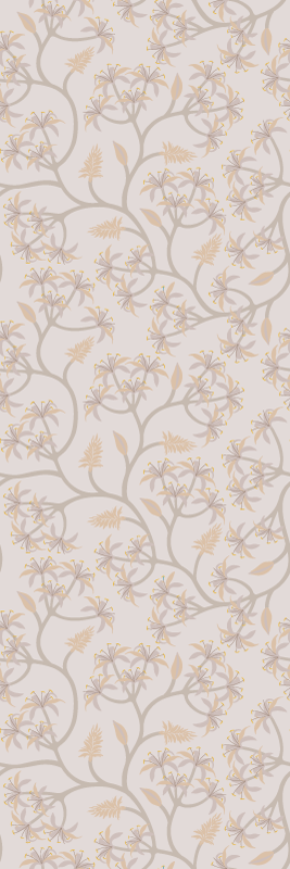 TenStickers. Elegant flowers on branches Nature Wallpaper. Vinyl wallpaper is super elegant, has the illustration of Elegant flowers on branches in grey, ideal for you to decorate the walls of your house.