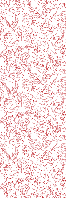Tenstickers. Punaiset siluettiruusut kukkatapetit. punainen tapetti, jossa on kuva monien ruusujen siluetista valkoisella pohjalla, ihanteellinen makuuhuoneen seinien koristeluun jne.