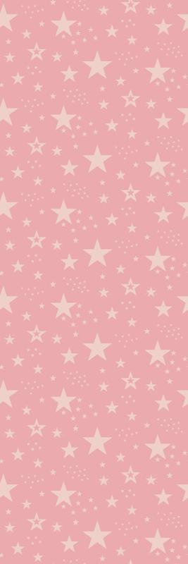 TenStickers. 浅粉红色星星上深粉红色的星空壁纸. 星墙纸以桃红色星的例证在桃红色背景理想的以柔和的方式装饰您的女儿的房间的墙壁。
